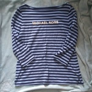 Michael kors blue striped top xl